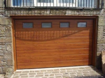 Novoferm Large Rib Golden Oak Sectional Garage Door