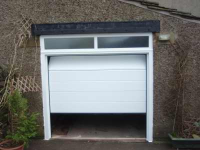 Novoferm Large Rib, Woodgrain White Sectional Garage Door